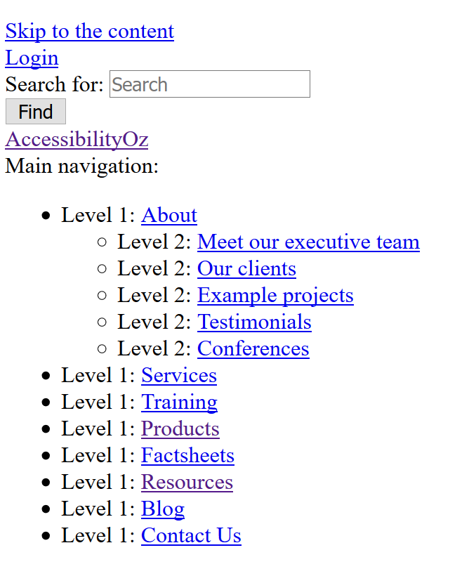AccessibilityOz homepage navigation with style sheets off. Navigation and drop-down menu items are displayed in a bulleted list.