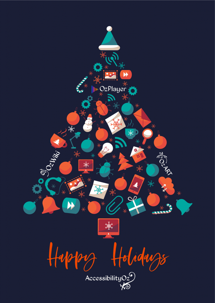 A Christmas tree made from tech- and holiday-related graphics. Happy Holidays from AccessibilityOz.